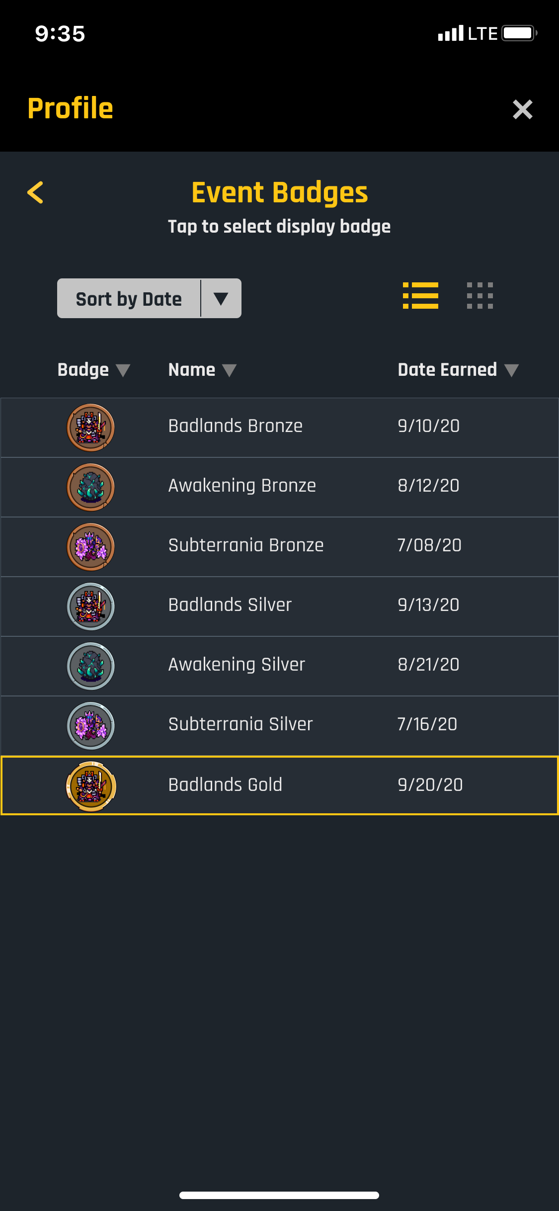 List of badges for mobile version